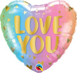18″ / 46cm Love You Pastel Ombre & Hearts Qualatex #97433