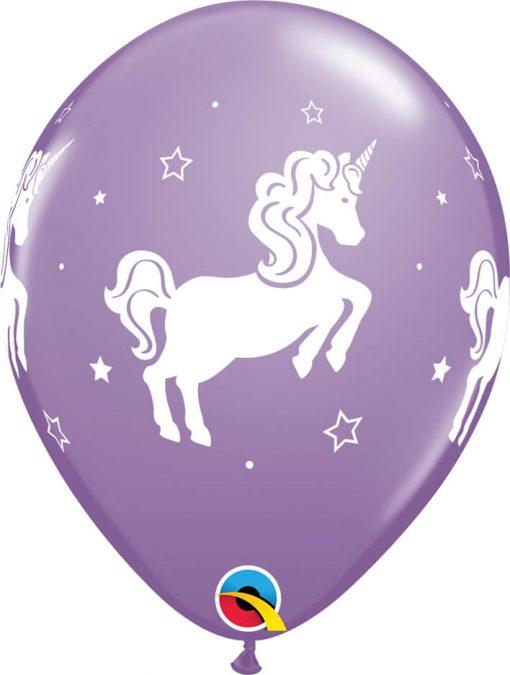 "11"" / 28cm Whimsical Unicorn Asst of Spring Lilac, Caribbean Blue, Rose Qualatex #98220-1"