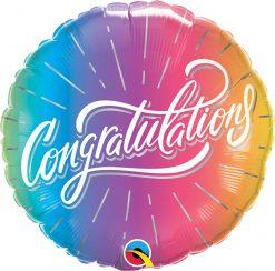 18″ / 46cm Congratulations Vibrant Ombre Qualatex #98485