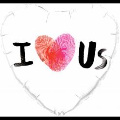 18″ / 46cm I (Thumbprint Heart) Us Qualatex #78543