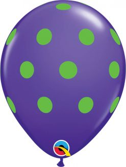 "11"" / 28cm Big Polka Dots Colorful Asst of Wild Berry, Lime Green, Yellow, Purple Violet, Caribbean Blue, Robin's Qualatex #10240-1"