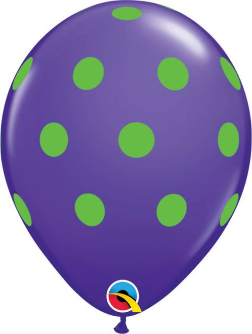 """11"""" / 28cm Big Polka Dots Colorful Asst of Wild Berry, Lime Green, Yellow, Purple Violet, Caribbean Blue, Robin's Qualatex #10240-1"""