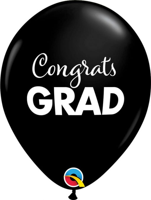 """11"""" / 28cm Simply Congrats Grad Asst of Gold, Silver, Onyx Black Qualatex #11262-1"""