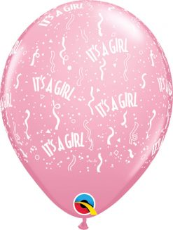 """11"""" / 28cm It's A Girl-A-Round Pink Qualatex #11731-1"""