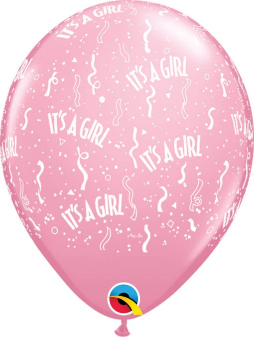 "11"" / 28cm It's A Girl-A-Round Pink Qualatex #11731-1"