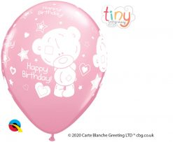 "11"" / 28cm Tiny Tatty Teddy Birthday Pale Pink Qualatex #12562-1"