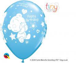 "11"" / 28cm Tiny Tatty Teddy Birthday Pale Blue Qualatex #12563-1"