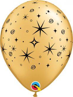 "11"" / 28cm Sparkles & Swirls Asst of Gold, Onyx Black Qualatex #12578-1"