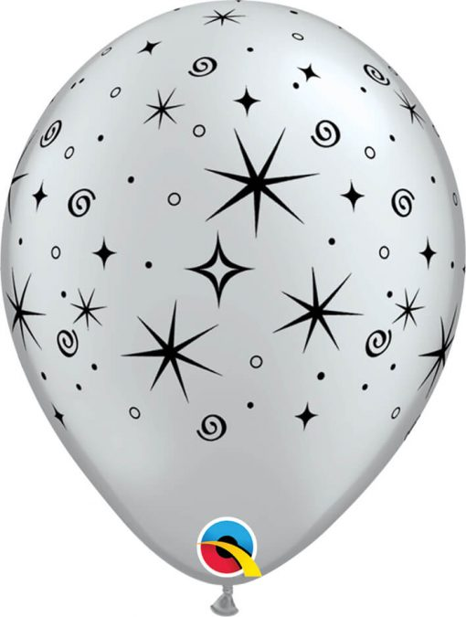 "11"" / 28cm Sparkles & Swirls Asst of Silver, Onyx Black Qualatex #12579-1"