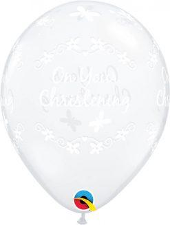 """11"""" / 28cm Christening Butterflies Diamond Clear Qualatex #13580-1"""