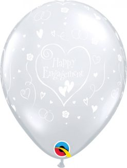"""11"""" / 28cm Engagement Hearts-A-Round Diamond Clear Qualatex #13617-1"""