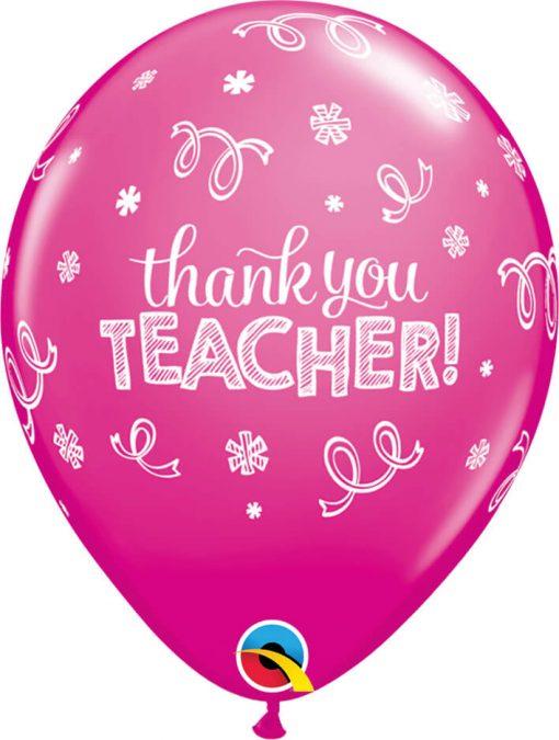 """11"""" / 28cm Thank You Teacher Tropical Asst Qualatex #13951-1"""