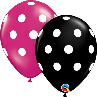 "11"" / 28cm Big Polka Dots Asst of Onyx Black, Jewel Magenta Qualatex #14218-1"