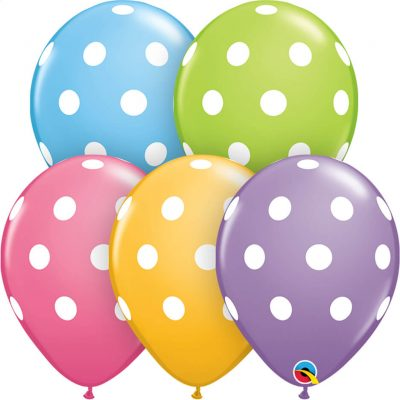 "11"" / 28cm Big Polka Dots Asst of Pale Blue, Lime Green, Spring Lilac, Rose, Goldenrod Qualatex #14248-1"