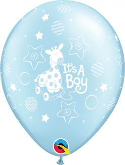 "11"" / 28cm It's A Boy Soft Giraffe Pearl Light Blue Qualatex #14514-1"