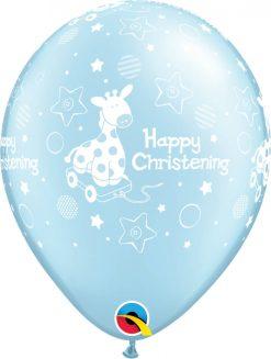 "11"" / 28cm Christening Soft Giraffe Pearl Light Blue Qualatex #14778-1"
