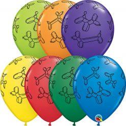 "11"" / 28cm Balloon Dogs Carnival Asst Qualatex #15755-1"