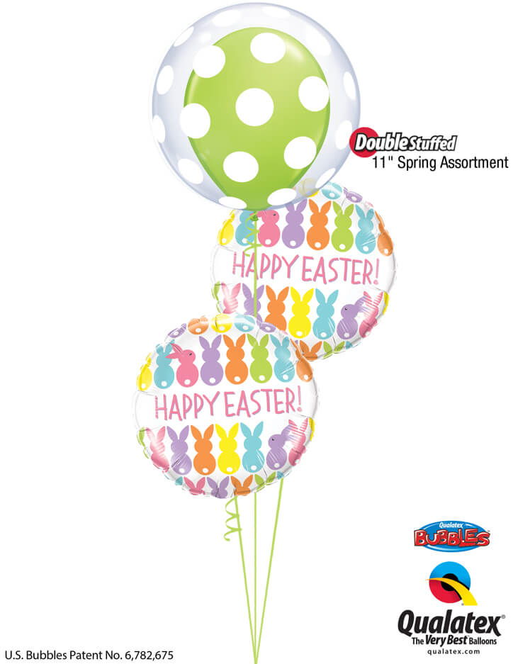 Bukiet 890 Happy Easter Polka Dot Bubble Qualatex #16872 82201-2 48955-1