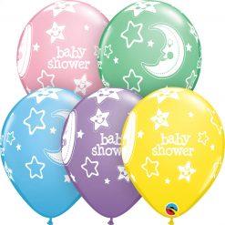 "11"" / 28cm 6szt Baby Shower Moon & Stars Pastel Asst Qualatex #17783"