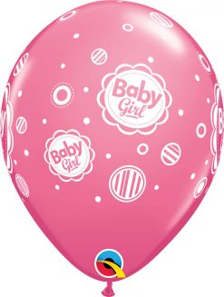 "11"" / 28cm 6szt Baby Girl Dots Rose Qualatex #17799"