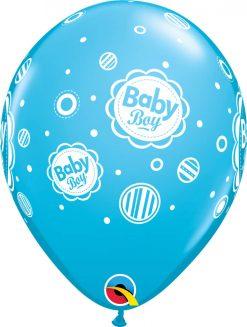 "11"" / 28cm 6szt Baby Boy Dots Robin's Egg Blue Qualatex #17803"
