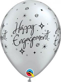 """11"""" / 28cm 6szt Engagement Elegant Sparkles Silver Qualatex #18063"""