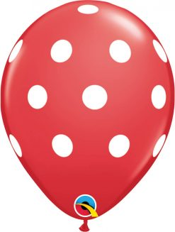 "11"" / 28cm 6szt Big Polka Dots Red w/White Ink Qualatex #18074"