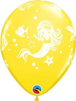 "11"" / 28cm Merry Mermaid & Friends Asst of Wild Berry, Lime Green, Yellow, Purple Violet, Caribbean Blue, Dark Blue, Orange Qualatex #18460-1"