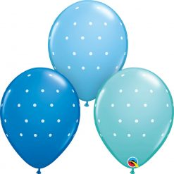 "11"" / 28cm Small Polka Dots Asst of Pale Blue, Caribbean Blue, Dark Blue Qualatex #18466-1"