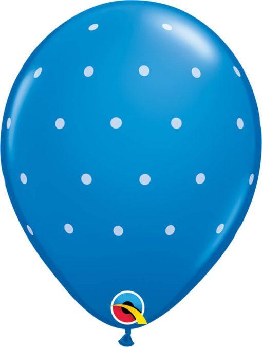 "11"" / 28cm Small Polka Dots Asst of Pale Blue, Caribbean Blue, Dark Blue Qualatex #18466-1"