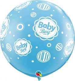 3' / 91cm Baby Boy Dots-A-Round Pale Blue Qualatex #18509-1