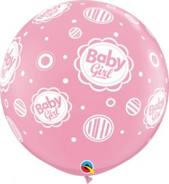 3' / 91cm Baby Boy Dots-A-Round Pink Qualatex #18510-1