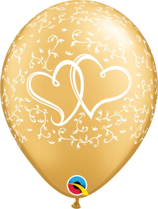 """11"""" / 28cm Entwined Hearts Gold Qualatex #18639-1"""
