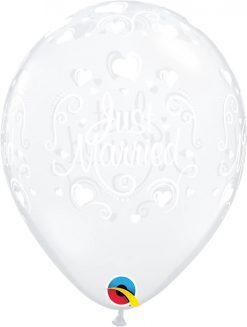 "11"" / 28cm Just Married Hearts Diamond Clear Qualatex #18652-1"