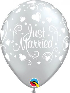 """11"""" / 28cm Just Married Hearts Silver Qualatex #18653-1"""