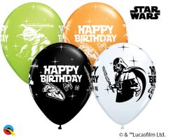 "11"" / 28cm Star Wars Birthday Asst of White, Lime Green, Onyx Black, Orange Qualatex #18669-1"
