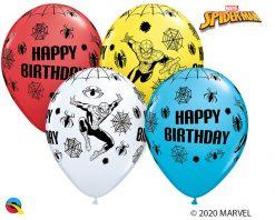 "11"" / 28cm MARVEL'S Spider-Man Birthday Asst of Red, White, Yellow, Robin's Egg Blue Qualatex #18672-1"