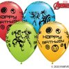 "11"" / 28cm MARVEL'S Avengers Assemble™ Birthday Assot of Red, Lime Green, Goldenrod, Robin's Egg Blue Qualatex #18674-1"