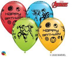 """11"""" / 28cm MARVEL'S Avengers Assemble™ Birthday Assot of Red, Lime Green, Goldenrod, Robin's Egg Blue Qualatex #18674-1"""