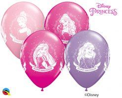"11"" / 28cm Disney Princess Birthday Asst of Wild Berry, Pink, Spring Lilac Qualatex #18684-1"