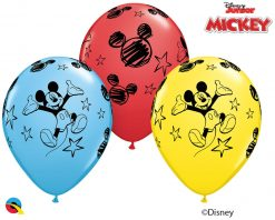 "11"" / 28cm Disney Mickey Asst of Red, Pale Blue, Yellow Qualatex #18688-1"