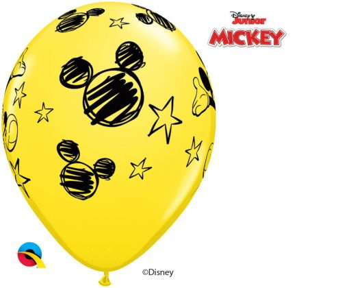 "11"" / 28cm Disney Mickey Asst of Red, Pale Blue, Yellow Qualatex #18688-1"