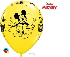 """11"""" / 28cm Disney Mickey Mouse Birthday Asst of Red, Pale Blue, Yellow Qualatex #18704-1"""