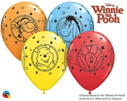"""11"""" / 28cm Winnie The Pooh Characters Asst of Red, Pale Blue, Yellow, Orange Qualatex #18710-1"""