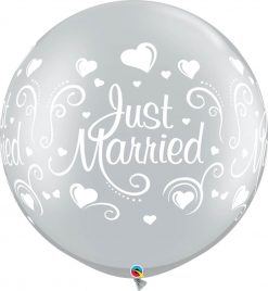"""30"""" / 76cm Just Married Hearts Silver Qualatex #18841-1"""