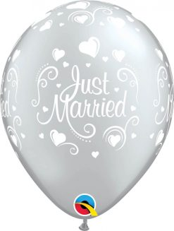 """11"""" / 28cm 6szt Just Married Hearts Silver Qualatex #19136"""