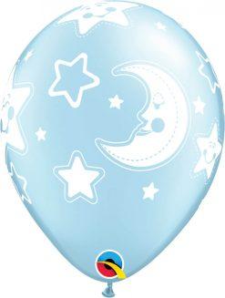 "11"" / 28cm Baby Moon & Stars Pearl Light Blue Qualatex #24941-1"