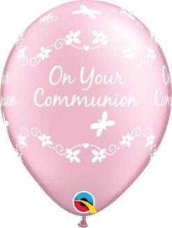 "11"" / 28cm Communion Butterflies Pearl Pink Qualatex #25062-1"