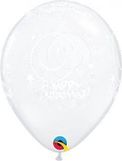 "11"" / 28cm Retirement! Smile Face-A-Round Diamond Clear Qualatex #26000-1"