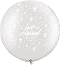 """30"""" / 76cm Just Married Flowers-A-Round Pearl White Qualatex #29208-1"""